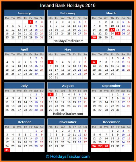 printable calendar 2014 ireland 2016 holidays calendar from holiday insights