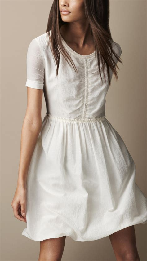 Cotton Dress lyst burberry brit gathered waist silk cotton dress in white