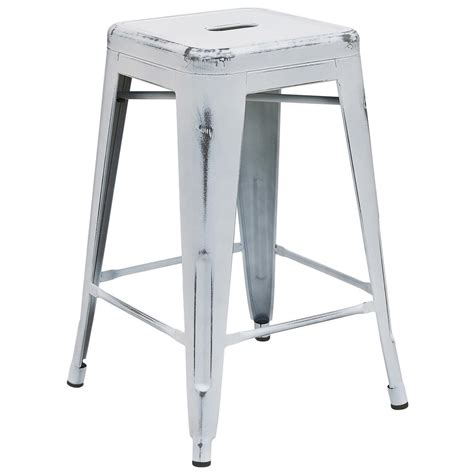 Furniture White Bar Stools by Flash Furniture 24 In Distressed White Bar Stool