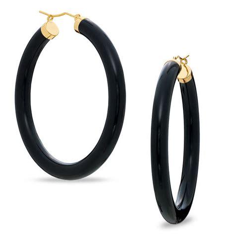 Black Jade black jade hoop earrings in 10k gold exclusives