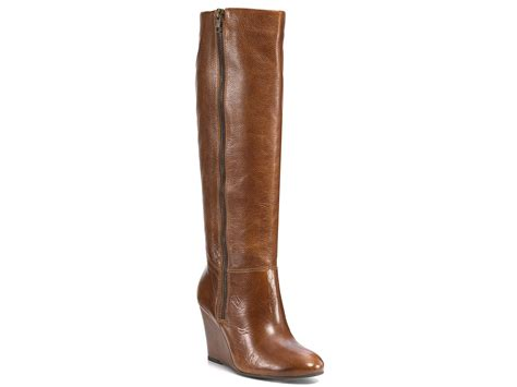 steve madden wedge boots steve madden wedge boots in brown cognac leather lyst