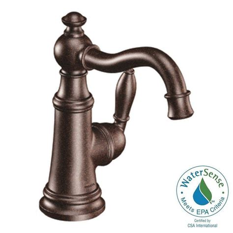 single hole bathroom faucet oil rubbed bronze moen weymouth single hole 1 handle high arc bathroom