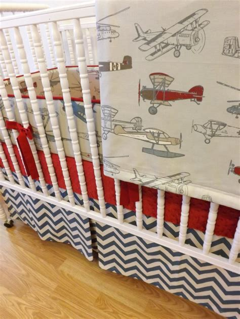 Airplane Crib Bedding Sets Baby Beddingmade To Order4 Pc Vintage Airplane By Littlecharliemay Images Frompo