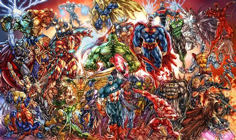 fandoms images marvel vs dc hd wallpaper and background collage of marvel and dc characters hd wallpaper and