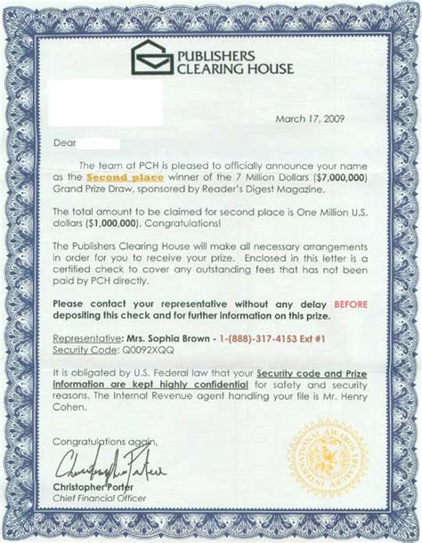 Publishers Clearing House Letter - publishers clearing house warns of sweepstakes scams party invitations ideas