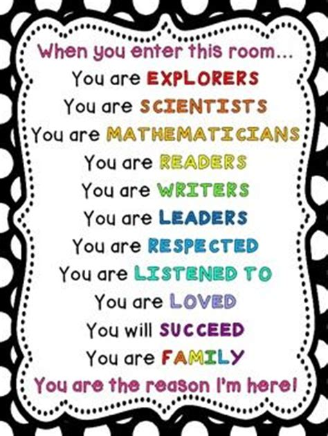 when we get in this room when you enter this room poster teaching classroom and affirmations