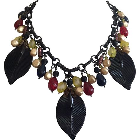 023d29r Choker Leaf Black vintage black glass leaf and baubles necklace from a connoisseurs collection on ruby