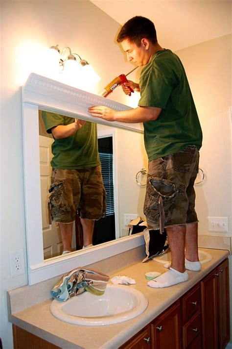 diy frame bathroom mirror home framed mirror diy trim crown molding liquid nails