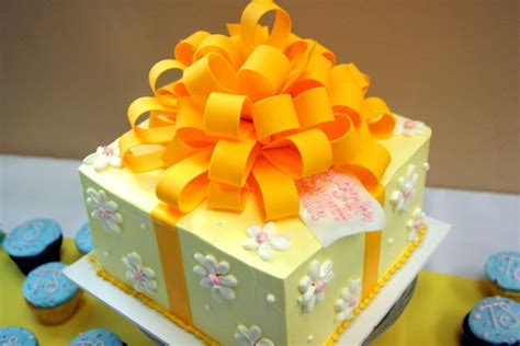 file decorative cake in shape of a present with large