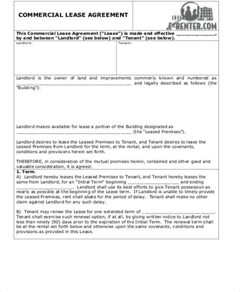 simple commercial lease agreement template simple commercial lease agreement 15 exles in word pdf