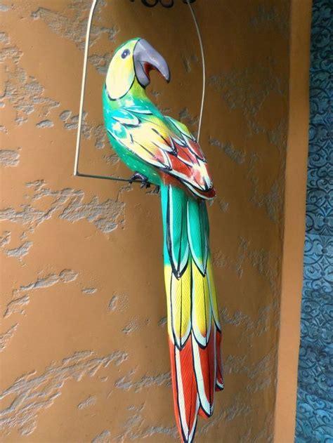 "X Large 28"" Mexican Folk Art Paper Mache Green Parrot in"