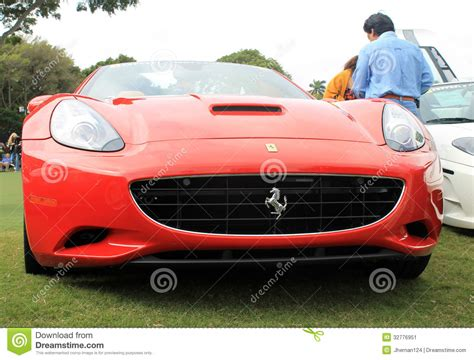 ferrari grill red italian modern sports car front view editorial photo