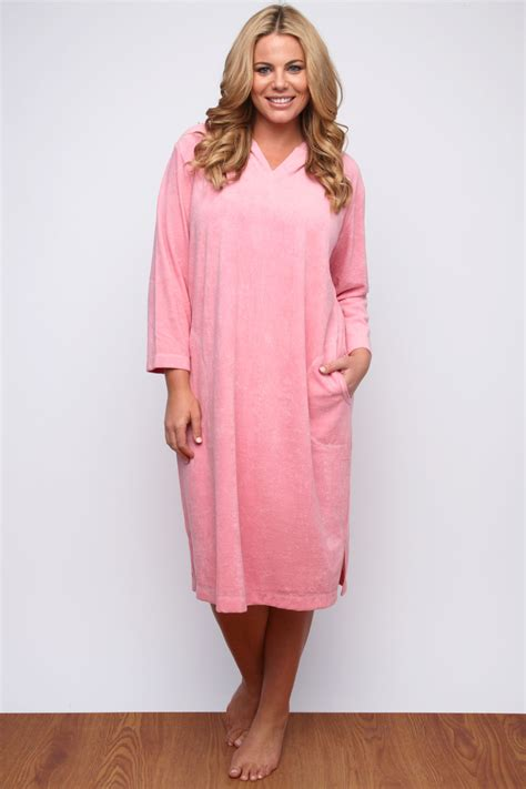 Dress Nl 30 Pink pink hooded towelling dress plus size 14 16 18 20 22 24 26
