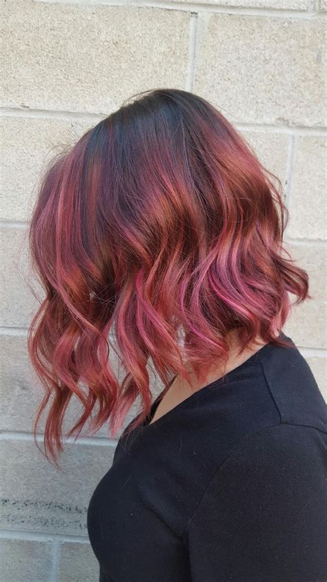 rose gold hair dye dark hair raspberry caramel chocolate dark rose gold hair with