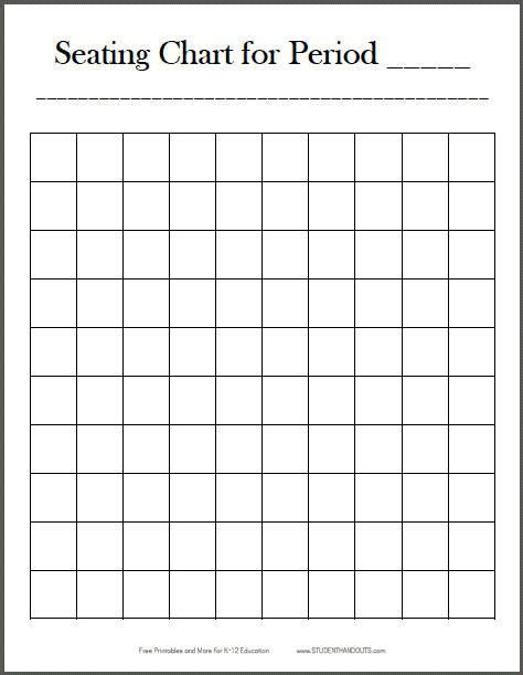 free printable 10x10 vertical classroom seating chart
