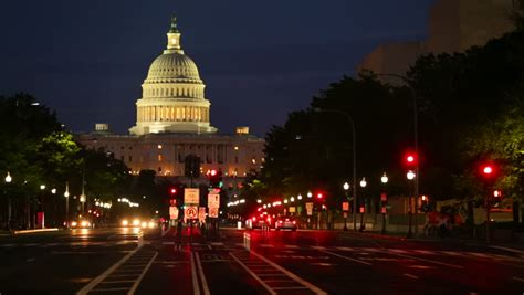 Washington Dc United States Capitol Building Night View Lights Washington Dc