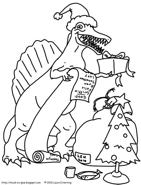Christmas Dinosaur Coloring Page | give your octopus a paintbrush or 8 coloring pages