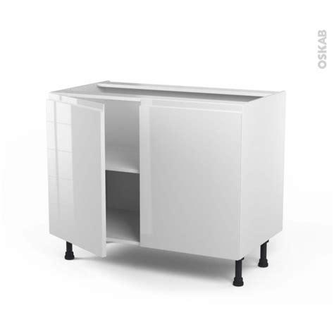 meuble de cuisine bas ipoma blanc brillant 2 portes l100 x