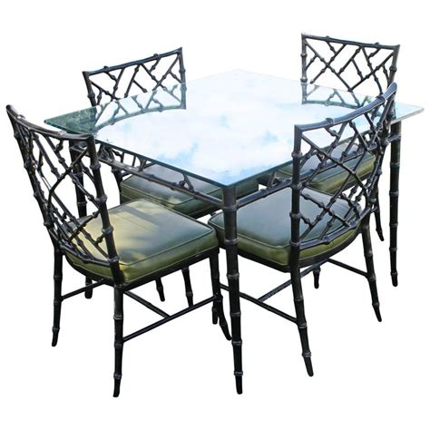 Bamboo Dining Table And Chairs Phyllis Morris Patio Set Dining Chairs And Table Faux Bamboo Chippendale For Sale At 1stdibs
