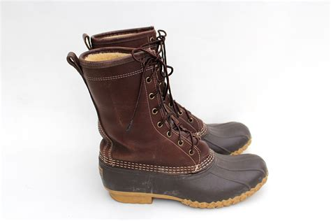 70s 80s ll bean duck boots brown leather shearling lined