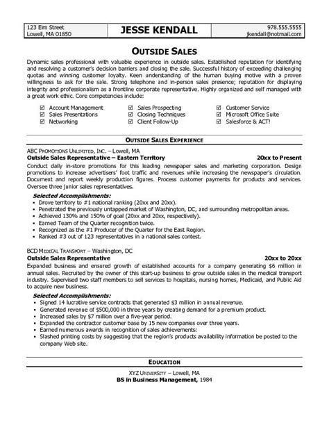 Sale Resume Exles by Outside Sales Resume Template Resume Builder