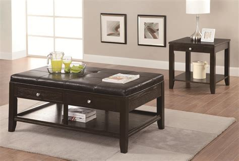 Coaster 702498 Brown Leather Coffee Table Steal A Sofa Brown Leather Coffee Table