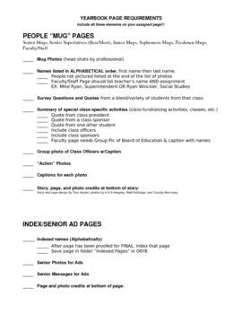yearbook layout checklist yearbook page requirements checklist for journalism