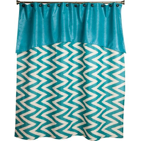 cheveron curtains shop fancy fringe turquoise chevron shower curtain