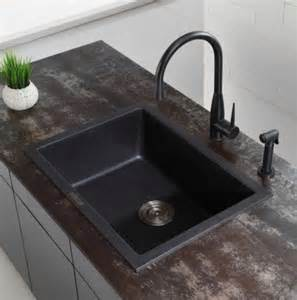 Kitchen Sink Black Granite Kraus 24 2 5 Inch Dual Mount Single Bowl Black Onyx Granite Kitchen Sink Modern Kitchen