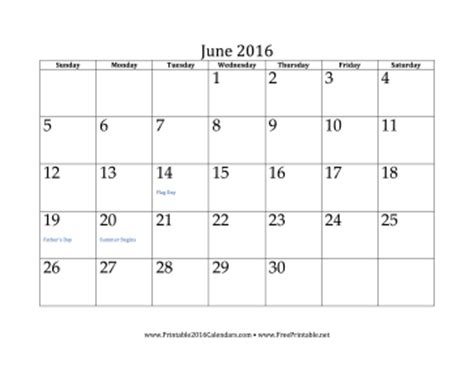 printable month calendar june 2016 printable june 2016 calendar
