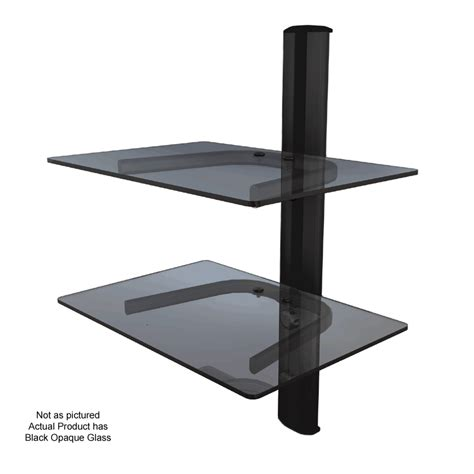 Component Shelf System by Crimson Dual Shelf Component Wall System Black With Black Glass Wa2