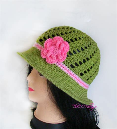 green crochet womens hats handmade hat cap