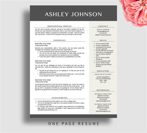 professional resume template for word and pages 1 3