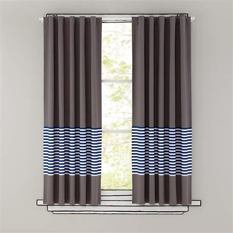 stripe curtain panel 84 quot new school curtain panel blue stripe the land of nod