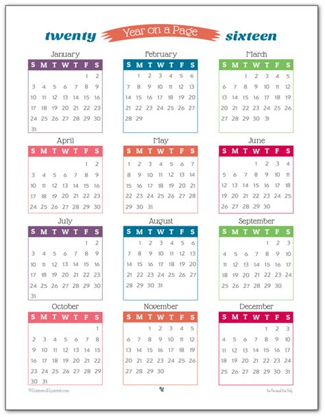 printable monthly 2016 year calendar 2016 year on page printable calendars are here