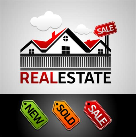 real estate auction houses real estate for sale sign and logo vector material download free vector 3d model icon