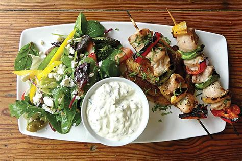 lamb kebabs and greek salad restaurant review of the red shoot inn and brewery
