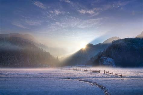 landscape nature photography winter sunset mountains