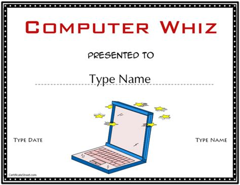 computer certificate templates education certificates computer whiz certificate