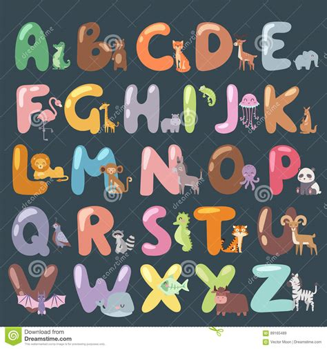 typography zoo zoo alphabet with animals isolated and