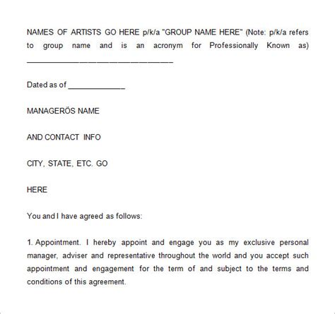 5 Artist Management Contract Templates Word Docs Pdf Free Premium Templates Rap Contract Template