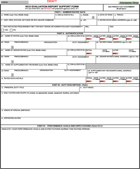 ncoer template da form 2166 9 1a ncoer support form