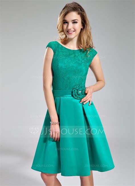 a linie u ausschnitt knielang spitze brautjungfernkleid mit schleife scharpe band p595 a linie princess linie u ausschnitt knielang satin spitze