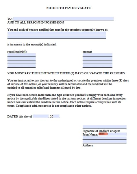 Free Washington Three 3 Day Notice To Quit For Nonpayment Pdf Word Doc Eviction Notice Template Washington State