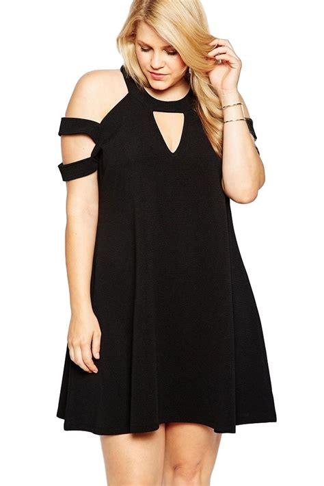 plus size clothing 4x 5x black cold shoulder keyhole shift