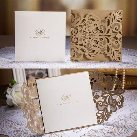 cheap printed wedding invitations cheap golden chic flower cut out free personaliz with related searches custom wedding