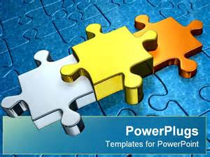 3 puzzle pieces template three puzzle pieces powerpoint template background of blue
