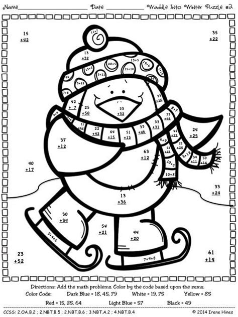 math coloring page winter addition color by number math worksheets math