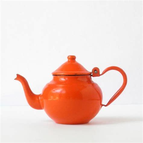 Tse Tse Teapot Now At Clio Home by Vintage Orange Enamel Teapot Enamelware