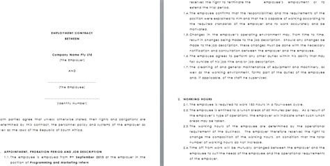 employment contract south africa template tom